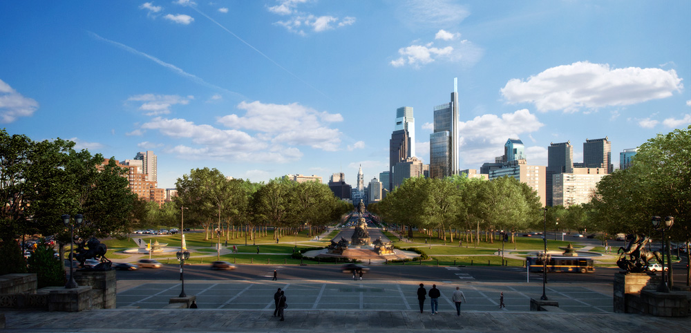 Philly Skyline, CITC enhanced, from the Art Museum | Rendering by Foster + Partners, courtesy of Liberty Property Trust