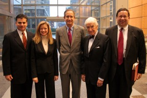 L-R: Liberty Property's John Gattuso, and Comcast's Karen Buchholz, Brian Roberts, Ralph Roberts, and David Cohen (December 2007) | Photo: Bradley Maule