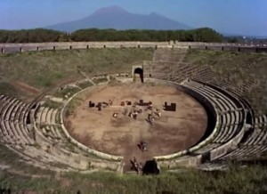 There they are, performing in front of only ghosts under a looming Mt Vesuvius! | Screen capture from Pink Floyd: Live at Pompeii