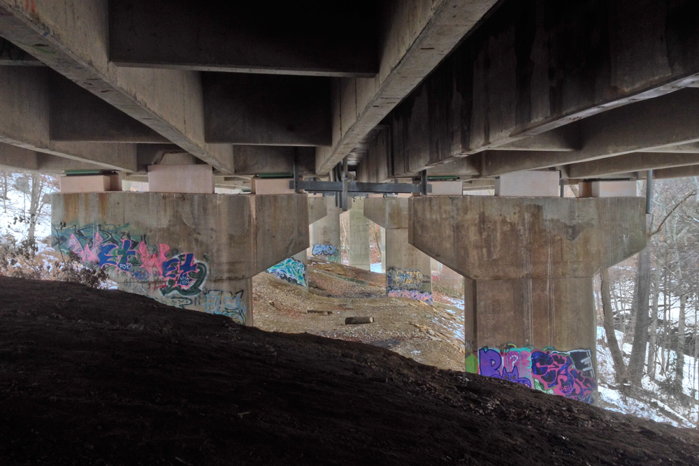 Between two berms: under Henry Avenue at Gorgas Run