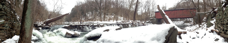 Thomas Mill dam and covered bridge