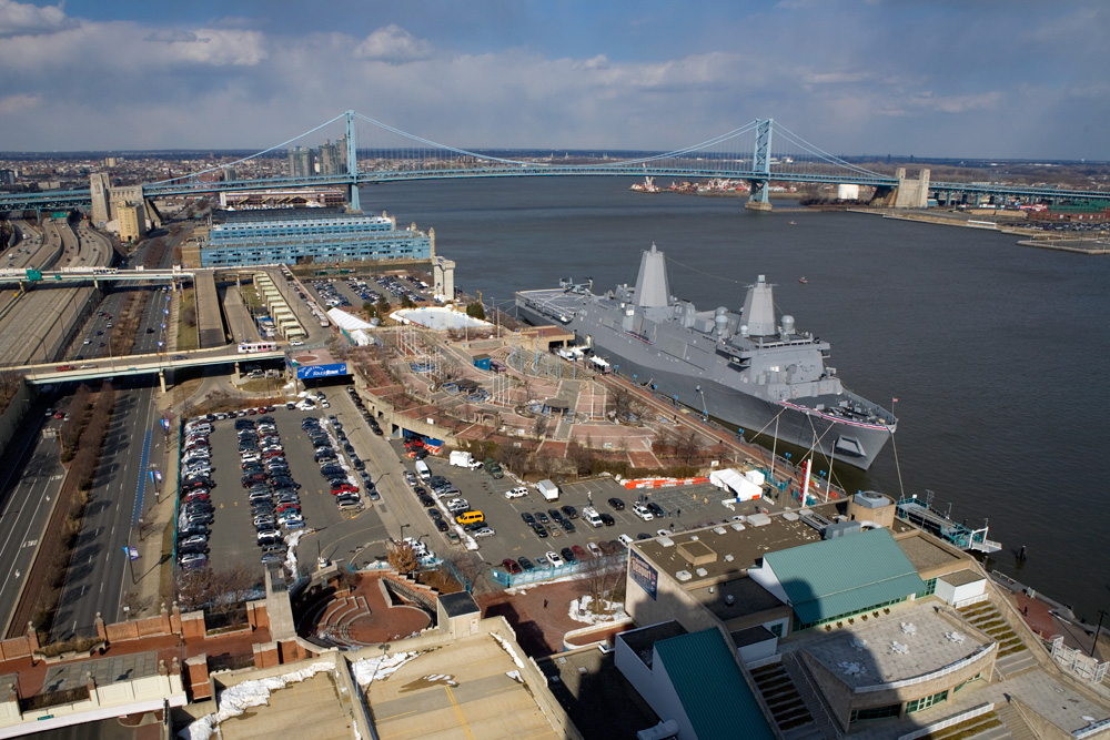 Focus on the ship, not all the riverfront surface parking