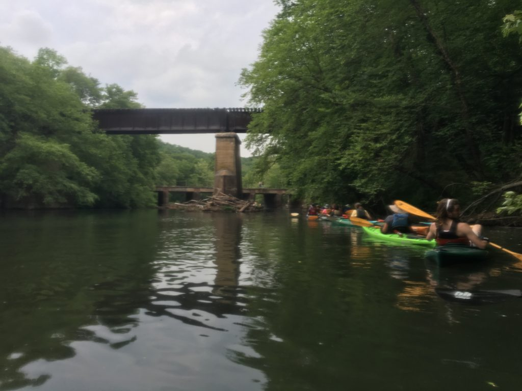 "Approaching ""The Chutes,"" a legendary rapid passing under a disused railroad bridge. I may or may not have dunked here."
